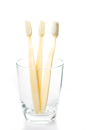 Three Toothbrushs isolate with white background photo