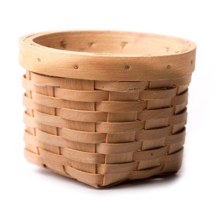 whie: Small empty wicker basket isolated with whie background