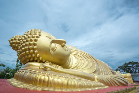 idolatry: Sleeping Buddha Statue in Thailand Stock Photo