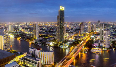 Thailand city skyline Twilight time in Bangkok photo