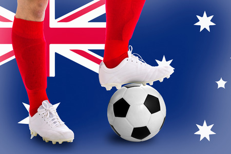 match head: Australia  soccer player with football for competition in Match game.
