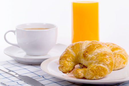 breakfast food: Close up Croissants breakfast food with white