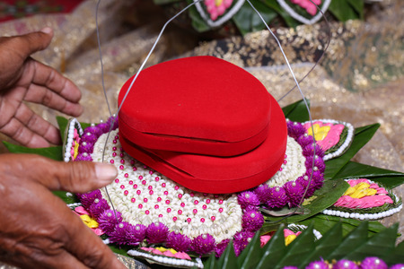 NAKRONPHATHUM THAILAND -JULY 6: Wedding ceremony July 6 2014, Meterial prepared for Thai people parade to make a marriage proposal  in Nakronphathum ,Thailand.