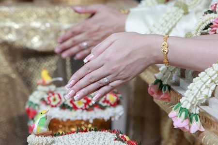fingers put together: Wedding of Cultural Thailand on during give holy water that parent and elders say Congratulatory to Wedding couple