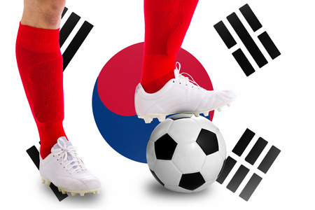 match head: South of korea soccer player with football for competition in Match game. Stock Photo