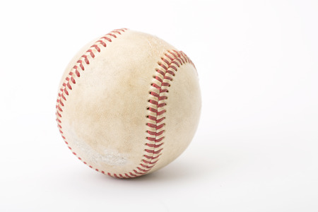 close up the old baseball in studio photo