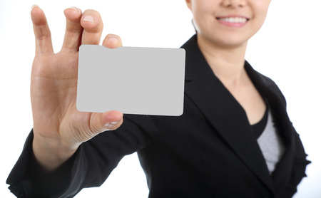 notecard: Business women holding name card for show her presentation
