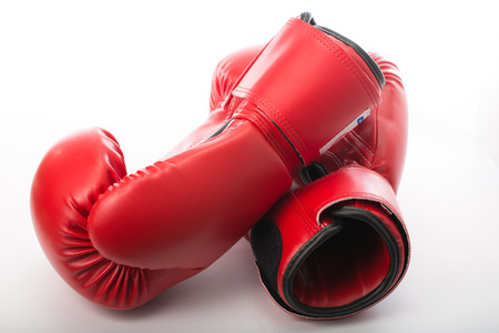 Red Boxing gloves isolated  with white blackground