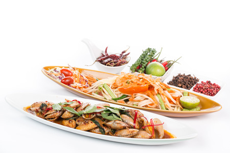 peanut sauce: Thai papaya salad and spicy shell with white background