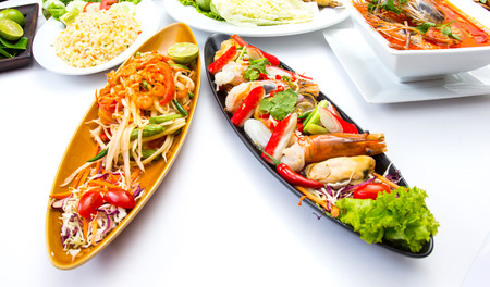 Collection Thai food with white background photo