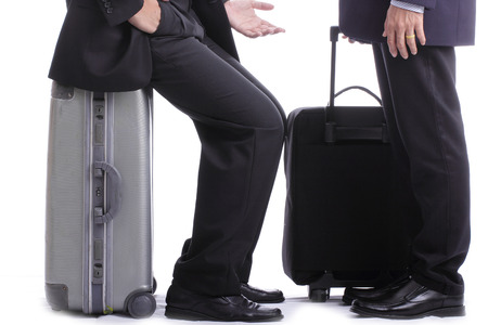 Backpack businessman talk with partner in the airport photo