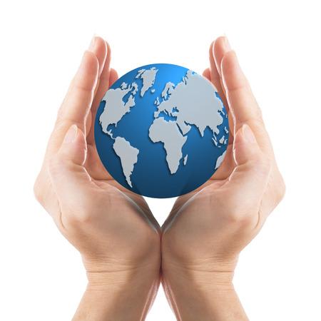 el mundo en tus manos: Salva el mundo en sus manos con el fondo blanco Foto de archivo