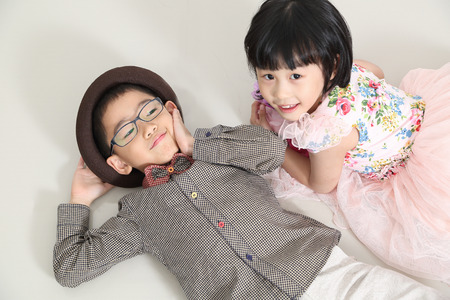 Fashion kids  post and present with white background photo