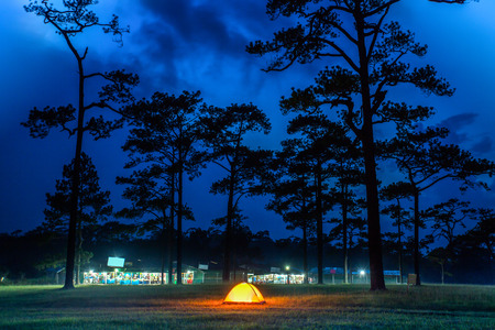 Camping tents with orange color in twilight time. photo