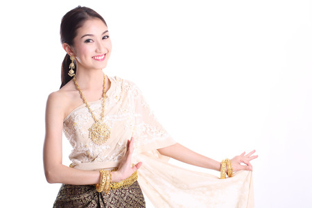 Asian woman traditional dance with white background photo