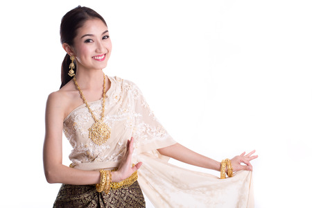 thailand: Asian woman traditional dance with white background