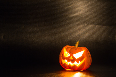 Halloween pumpkins smile and scrary eyes for party night Stock Photo
