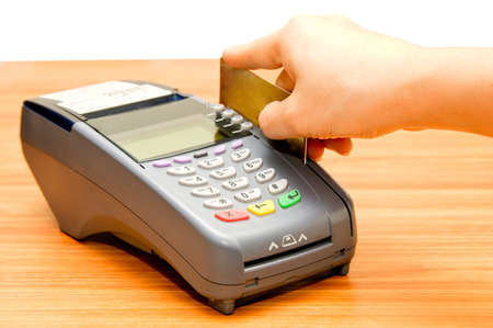 option key: payment machine and Credit card in supermarket Stock Photo