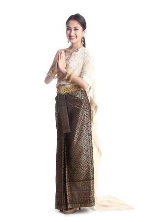 Thai women welcome with traditional Thai suit in Studio Standard-Bild