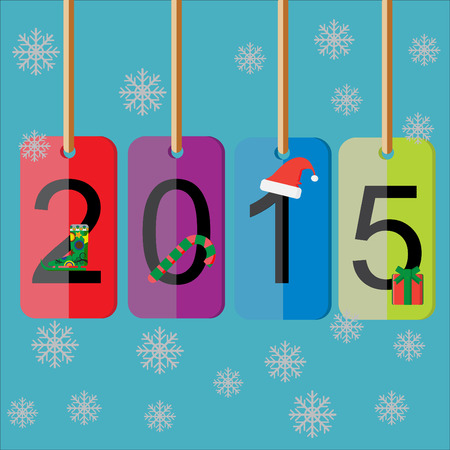 end of the days: Price color paper hang for walcome new year 2015 with EPS 10 vector