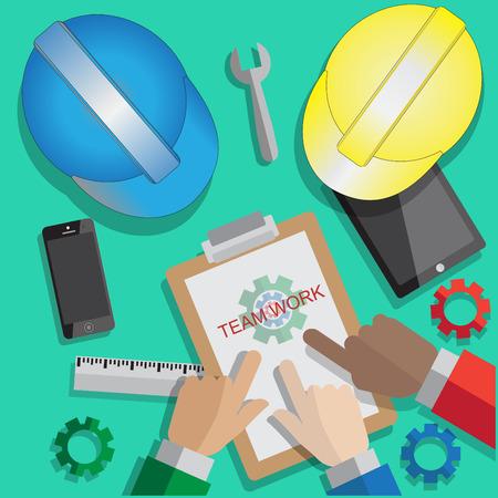 manos unidas: Socios negocios táctil juntos para el trabajo en equipo con la tecnología para ejecutar emabrgo negocio Vectores