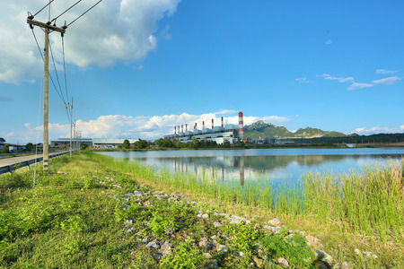 coal fired: Coal fired power plant with blue sky