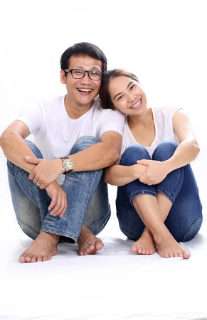 Asian Family portrait with white background