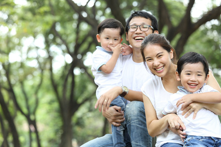 Asian Family portrait in the out side