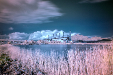 powerplant: Coal fired power plant with  infrared style Stock Photo