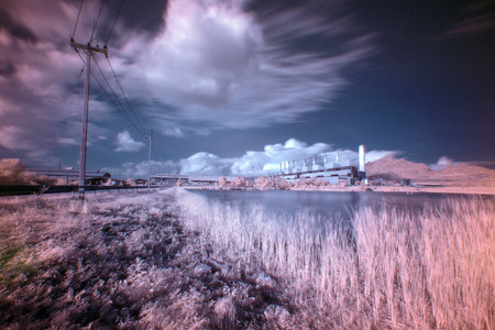coal fired: Coal fired power plant with  infrared style Stock Photo