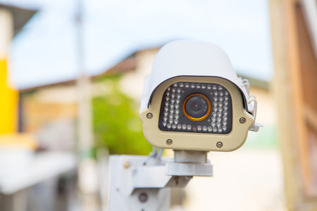 security monitor: Video Security Camera for protect criminality and monitor your place. Stock Photo