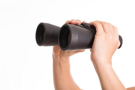 man holding binoculars photo
