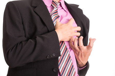 tightness: hand grabbing a chest with white background