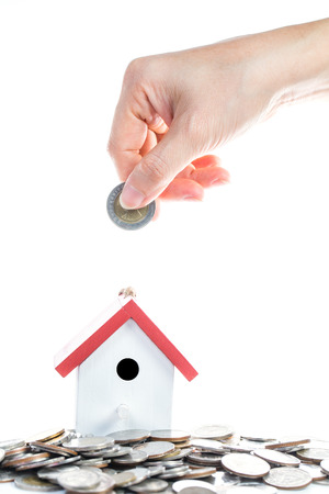 giving money: Buying property concept with giving money Stock Photo