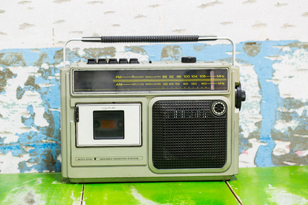 transistor: Vintage Transistor radio with white bakcground