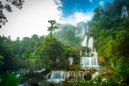 Thi Lo Su Waterfall or Thee Lor Sue  in Thailand Stock Photo