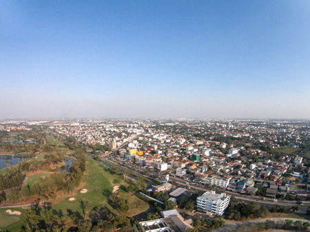 Top view of home town  and golf club in Thailand photo