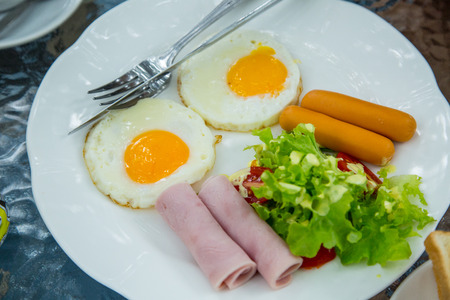 bacon love: Thai style breakfast with  egg in the morning Stock Photo