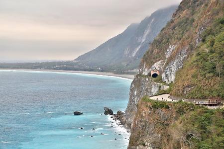 Suhua Highway beside pacific ocean in Hualien, Taiwan