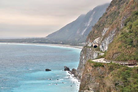 Suhua Highway beside pacific ocean in Hualien, Taiwan