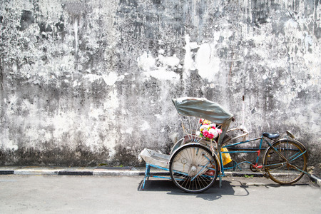 penang: Trishaw vintage style in George Town ,Penang ,Malaysia. Stock Photo