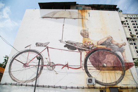 trishaw: GEORGE TOWN,PENANG ,MALAYSIA- CIRCA March 26, 2015: Public street ,The Awaiting Trishaw Paddler painting Art by Local and Famaus with realistic mood ,Graffiti in George Town, Malaysia Editorial
