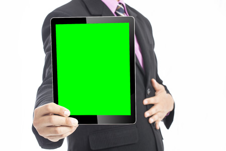 high performance: Businessman show high performance growing graph to team with touch pad