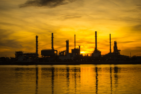 polution: Oil refinery factory in the morning.