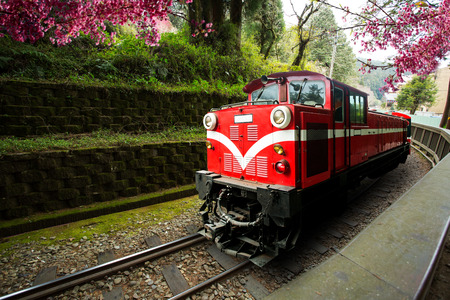 Traditional Train Run in Alishan Train for trasport passager