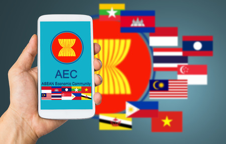 asean: ASEAN Economic Community with your smartphone connection business in South of Asia. Editorial