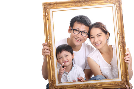 Family portrait with white background.