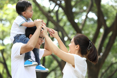 Happy Family enjoy and do activity together in Garden. 版權商用圖片