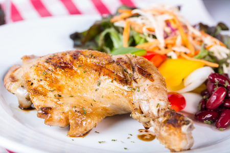 western food: Grilled chicken steak western food style with salad vegetable