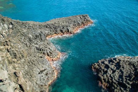 columnar: Basaltic columnar joint coast Natural rock in JeJu Island Korea.